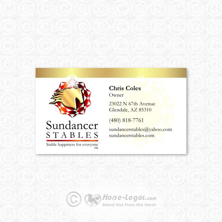 Custom equine business card design created for Sundancer Stables ...