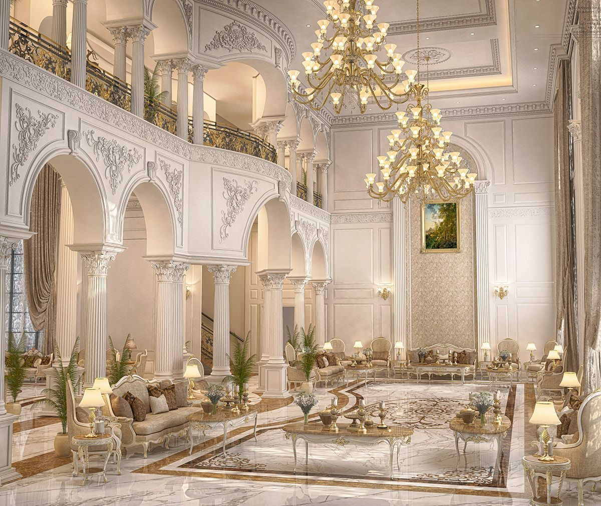 Main Hall Design For A Private Villa At Doha-qatar On