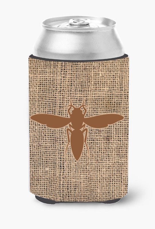 Yellow Jacket Burlap and Brown Can or Bottle Beverage Insulator Hugger