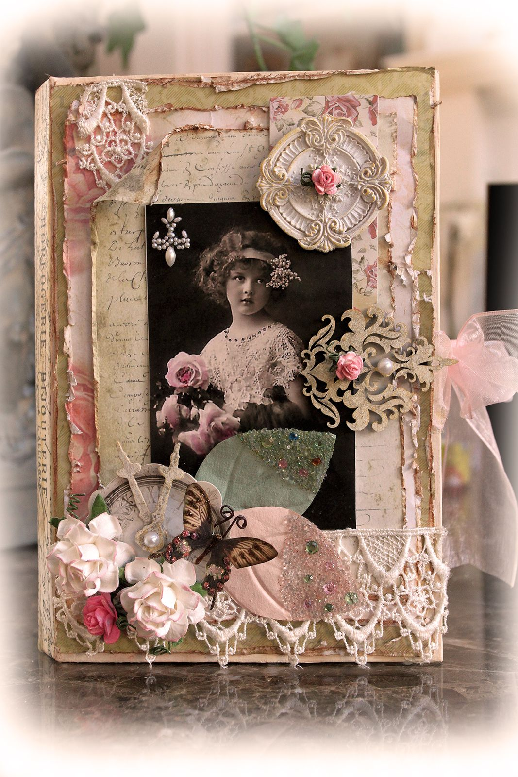 Moments In Time Altered Book Box **SCRAPS OF ELEGANCE** *November Kit-Je t'aime* - Created by Renea Harrison with our Je t'aime kit