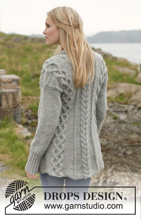 """Knitted DROPS jacket with cables and shawl collar in """"Karisma"""". Size ..."""