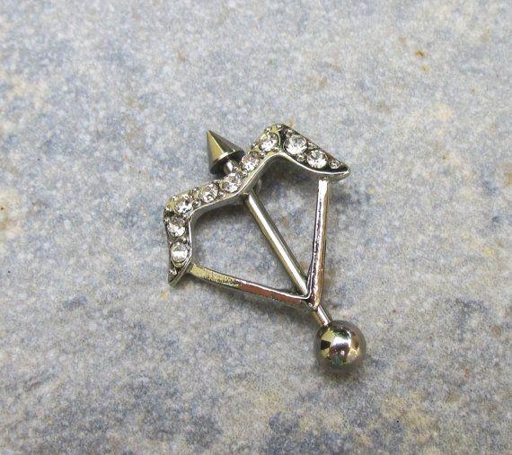 Bow N Arrow Nipple Ring, Rhinestone Bow, Body Jewelry, Nipple Piercing, Body Candy, Straight Arrow Nipple Barbell, 14 ga, Isle Of Craftin