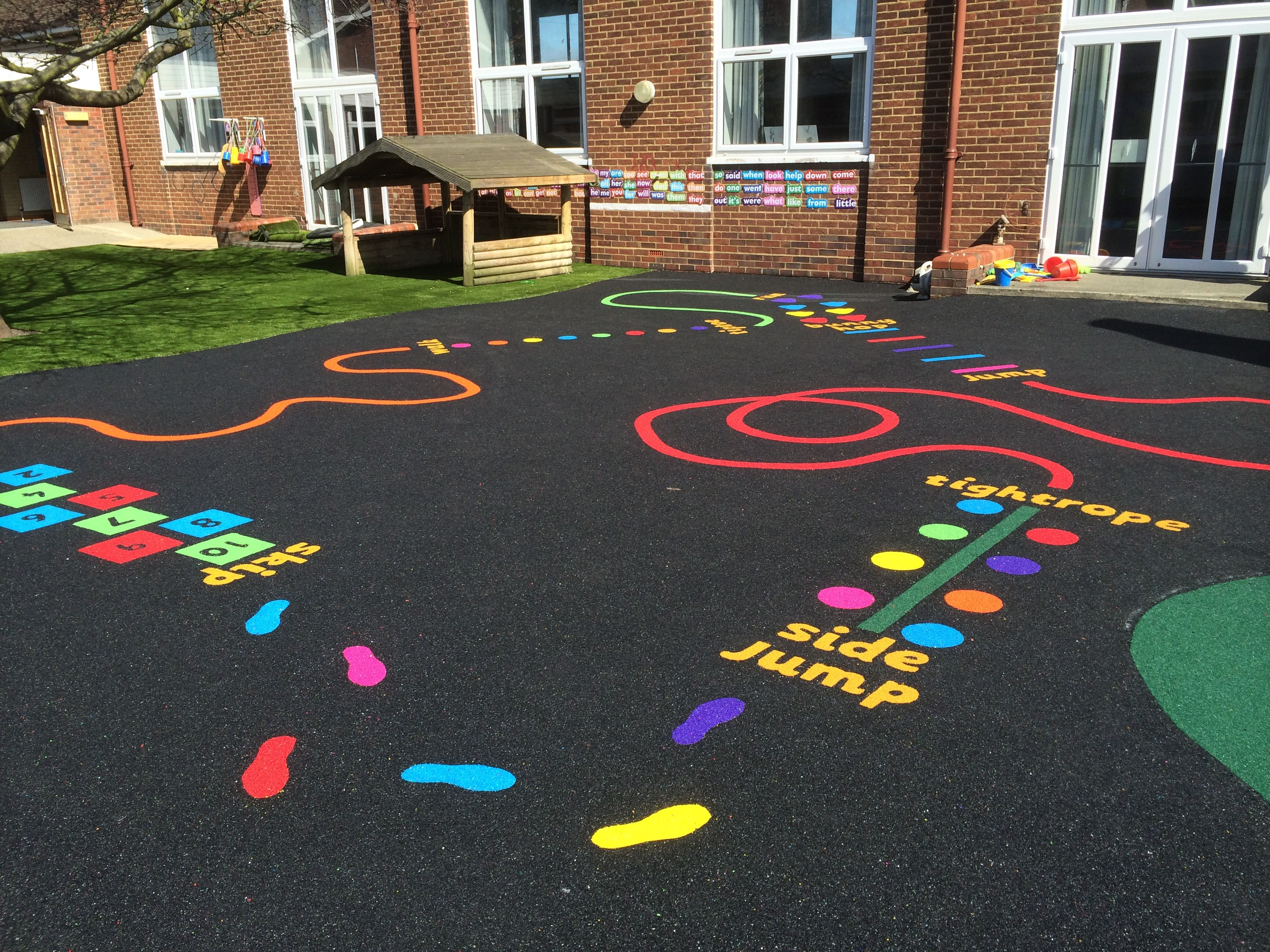 Rubber floor mats for wet areas - Wet Pour Rubber Flooring Artificial Grass School Playground