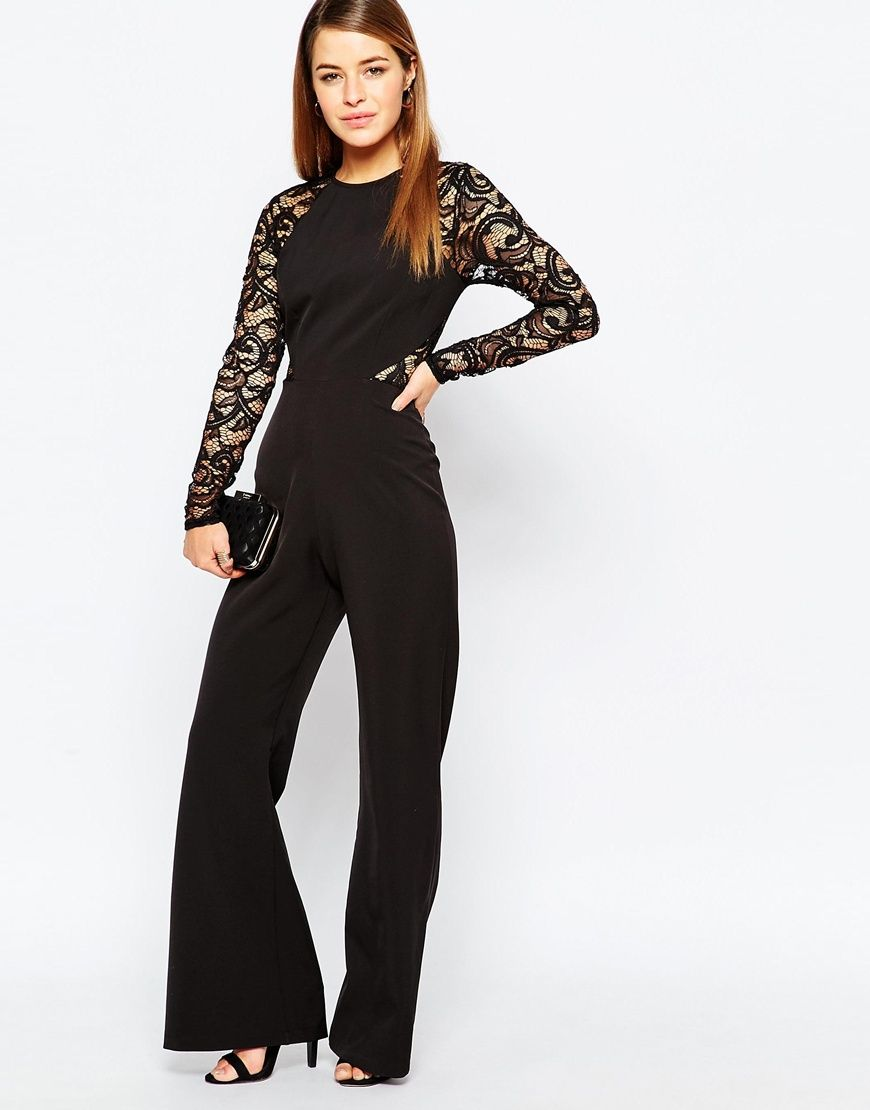 270ad15fa5 Image 4 of John Zack Petite Lace Sleeve And Back Detail Jumpsuit