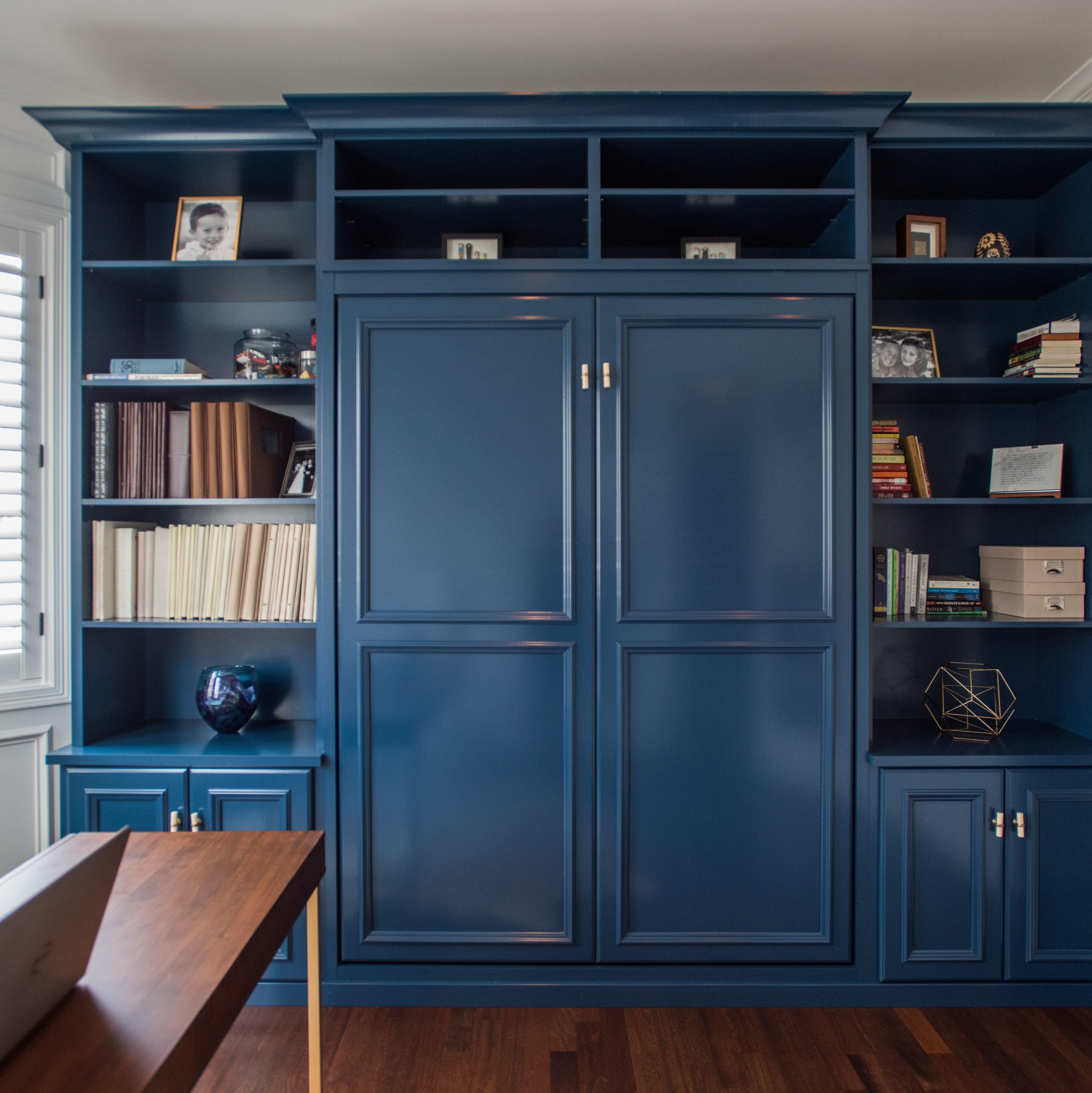 Denver, CO Library With Custom Designed Book Shelf With Hidden Queen Murphy  Bed Designed By Maureen Fancher, Closet Factory Colorado.