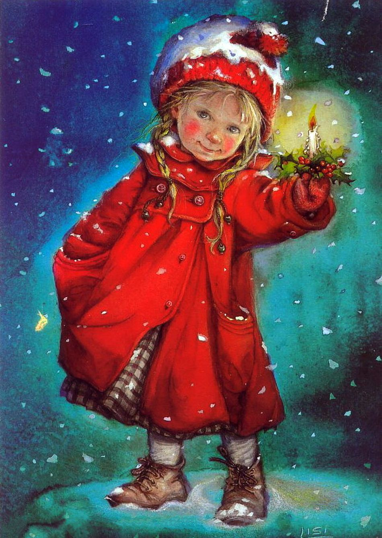 Новогодние открытки девочка