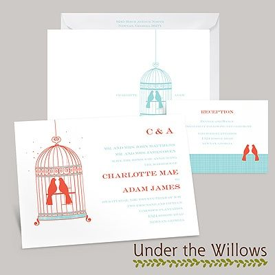 Invitations by dawn in white, navy and gray.