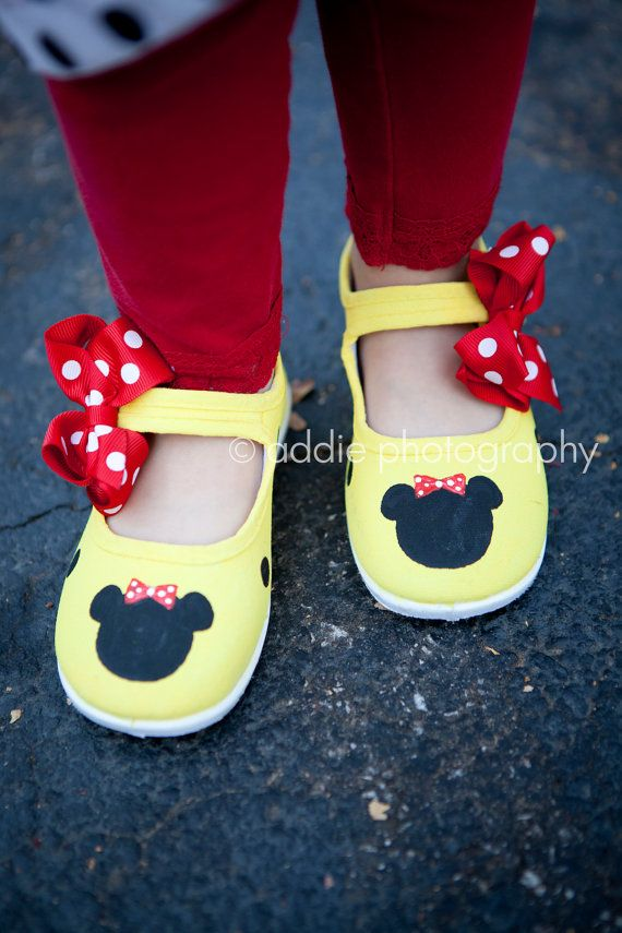 bb96292b7dbed Childrens shoes - Fully hand painted yellow mouse inspired buckle ...
