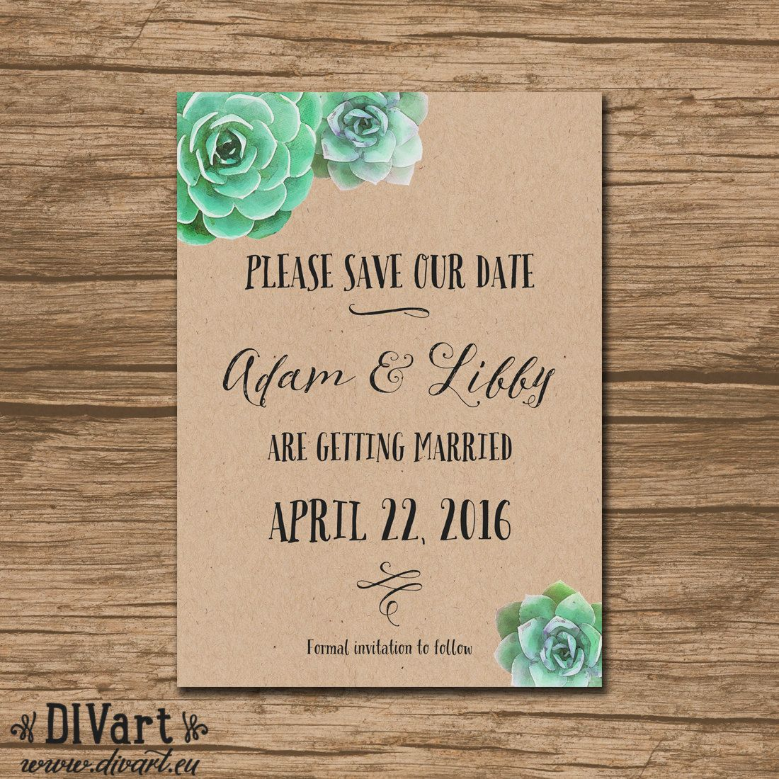 Succulent Save The Date Save Our Date Wedding Announcement