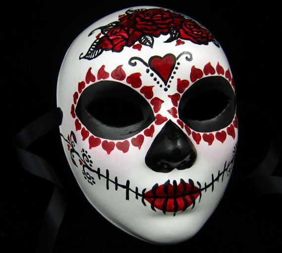 White Day of the Dead Halloween Skull Masquerade Mask