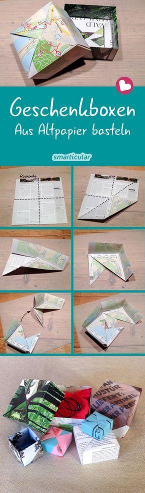Schenken ohne Verpackungsmüll: Faltschachtel aus Altpapier