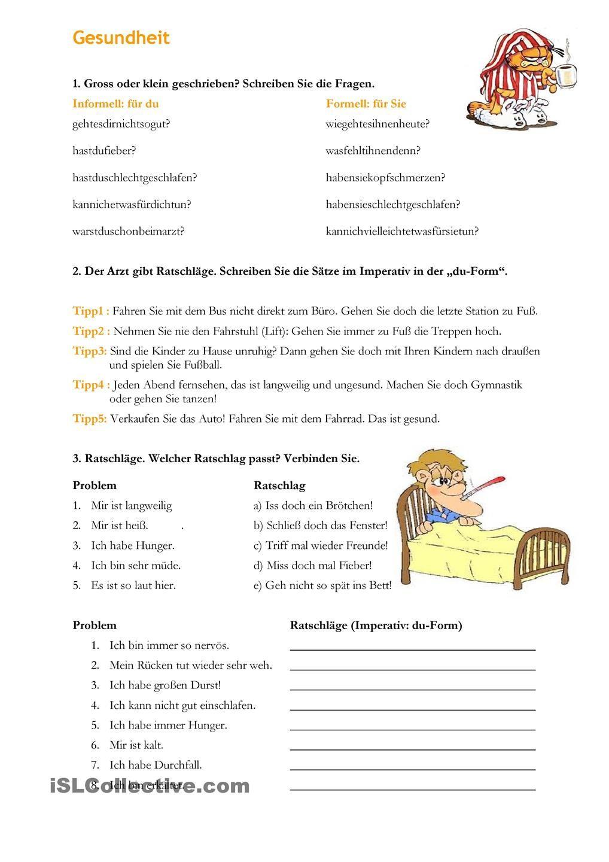 Gesundheit- Ratschläge | German for intermediates | Pinterest ...