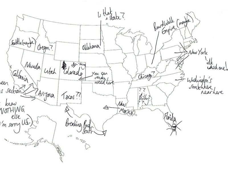 British People Naming US StatesPeople In London Tried To Label - Map of the 50 us states