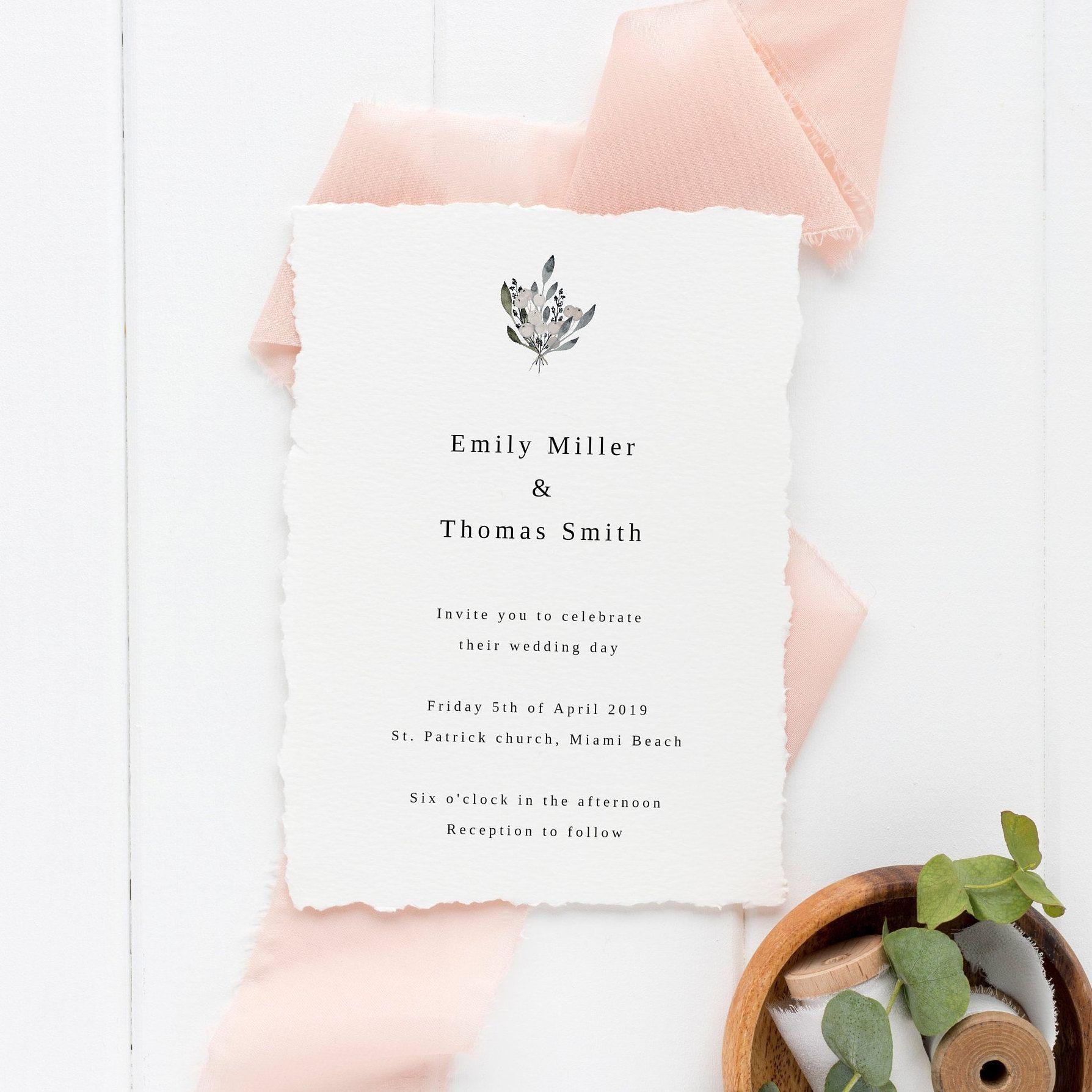 Simple Wedding Invitation Template Modern Calligraphy