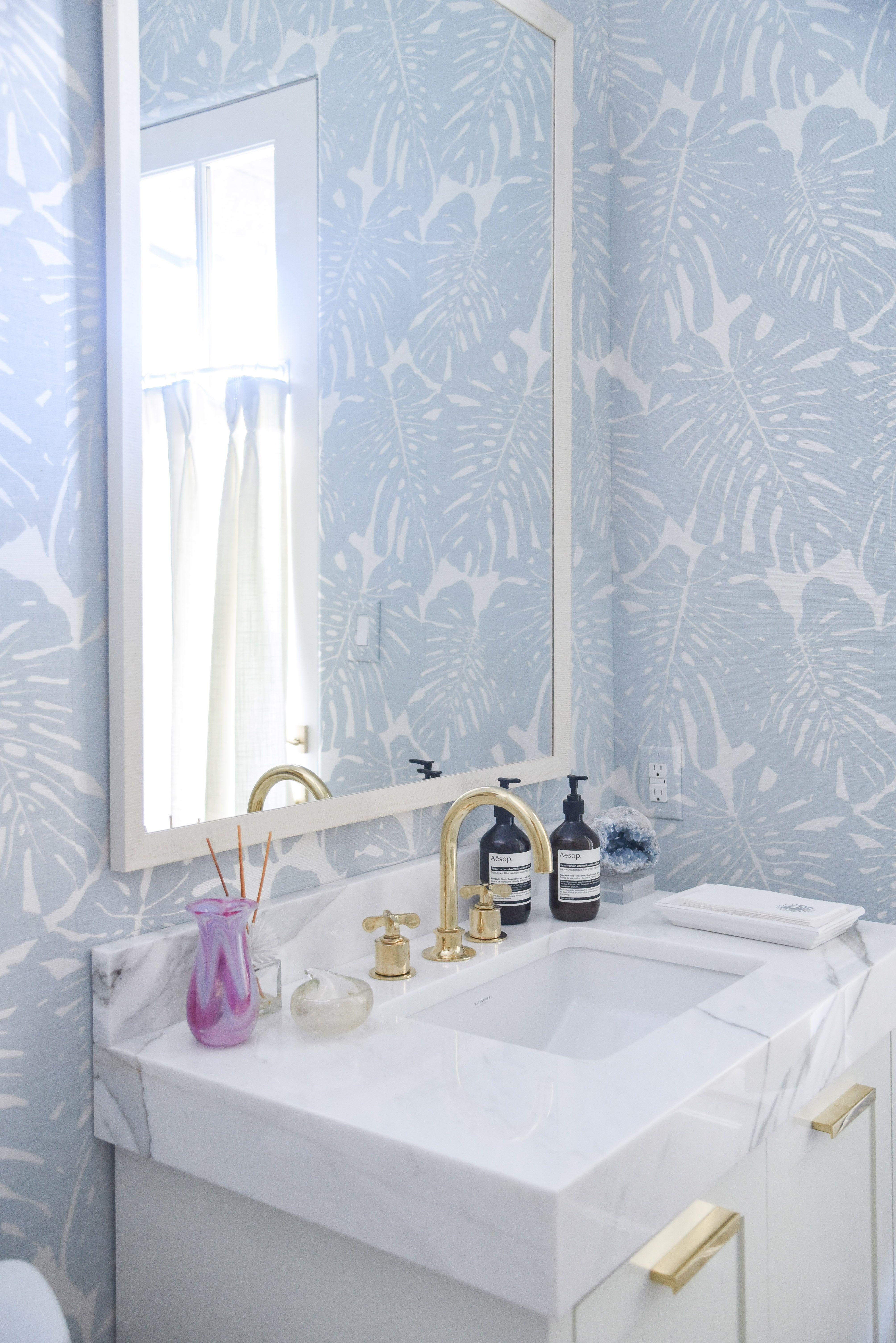 powder bathroom design by blue print interiors | blue and white ...