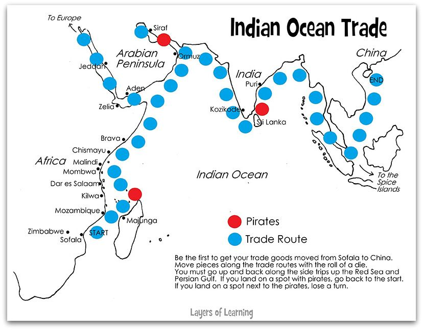 Meval Indian Ocean Trade Routes | Ocean, Free printables ... on india china map, india trade route art, india road map, india terrain map, india travel map, india culture map, india british empire map, india africa map, india russia map,