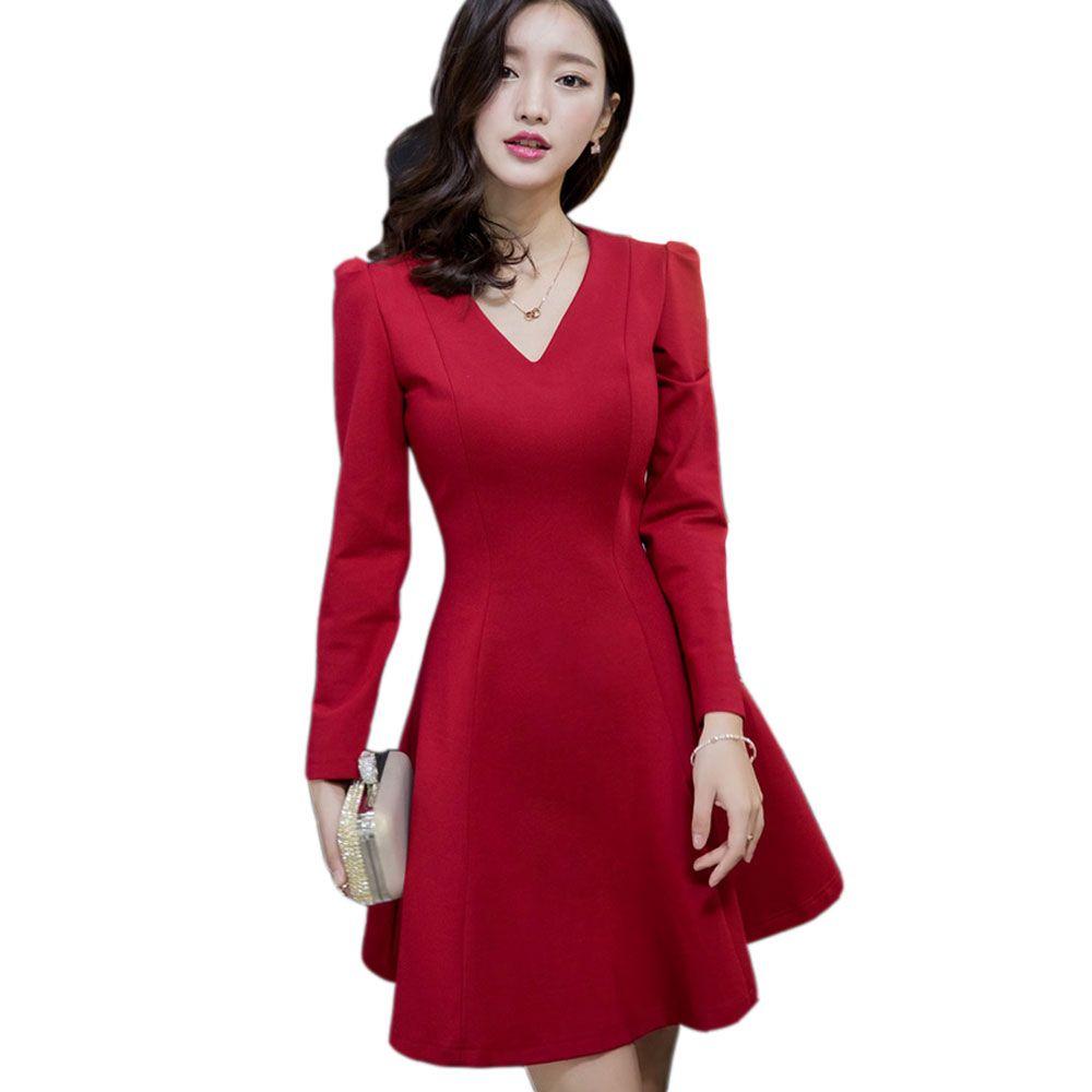 Plus size xxl black red winter dress women kneelength long sleeve v
