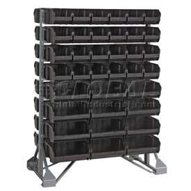 36x20x53 Double Sided Floor Rail Rack With 92 Mixed Conductive Stacking Bins By Quantum Storage Sys 975 00 Co Stacking Bins Bins Garage Storage Organization