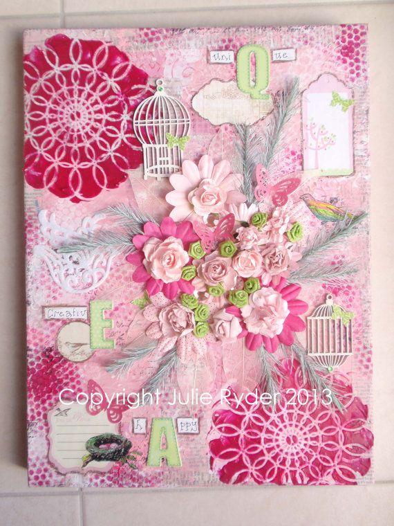 12 x 16 inch Pink Mixed Media on Canvas por JulieRyderMixedMedia ...