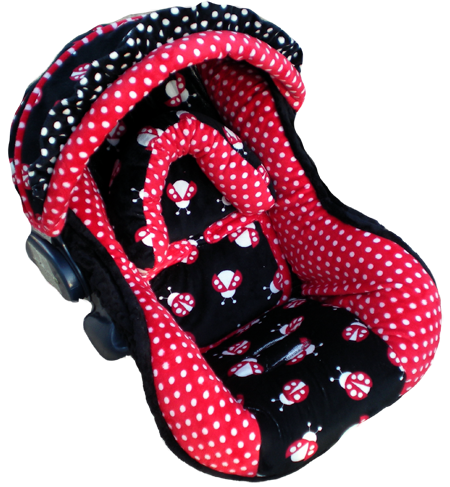 Image detail for -Black and Red Ladybugs Infant Car Seat Cover for