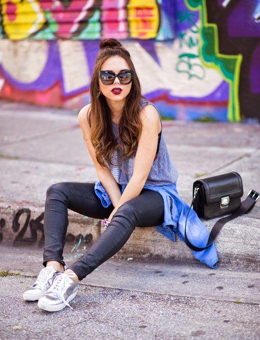 Nany's Klozet curbside in the perfect silver sneakers | Fashiolista.com