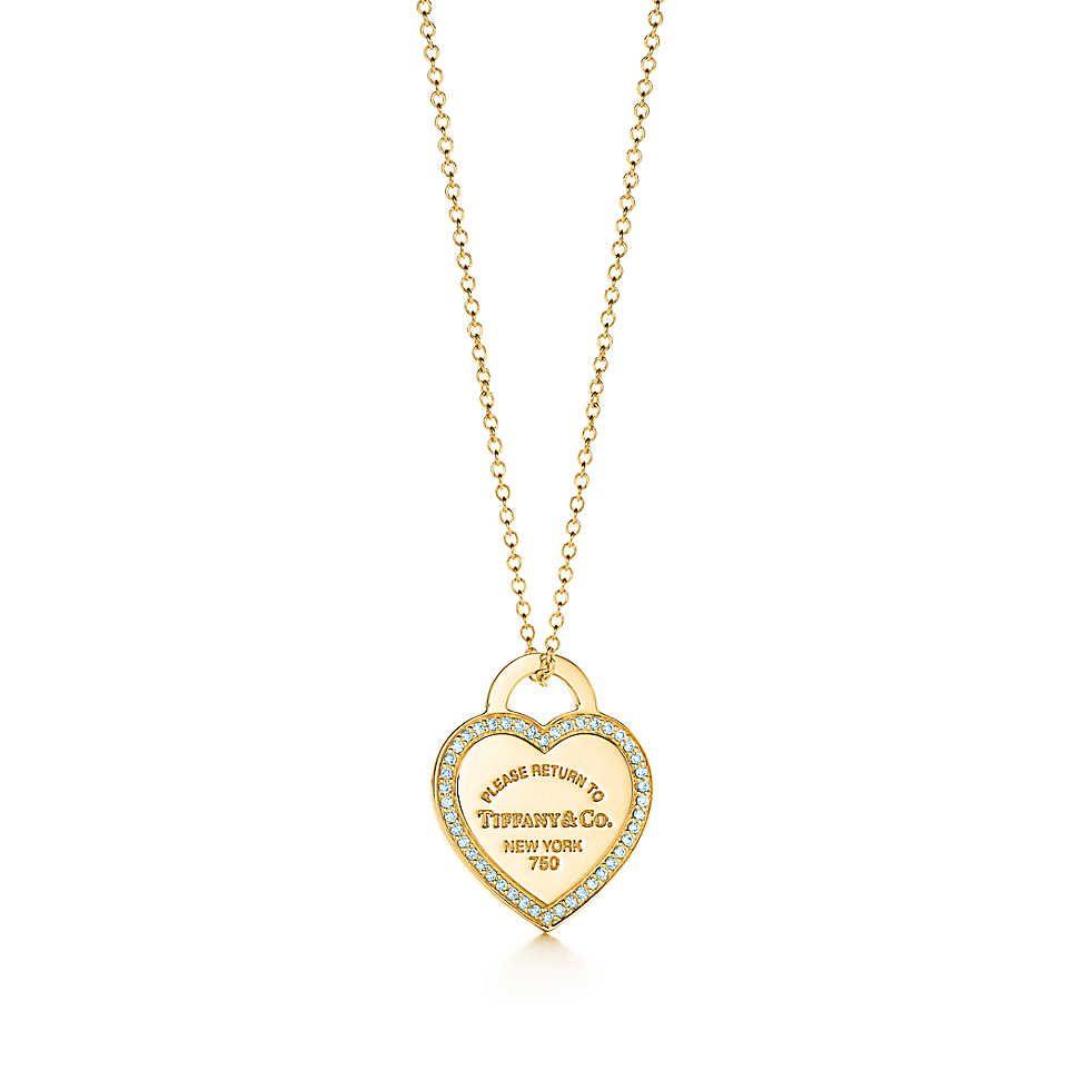 Return To Tiffany Heart Tag Pendant Big Diamonds Necklace Shop Necklaces Neck Jewellery