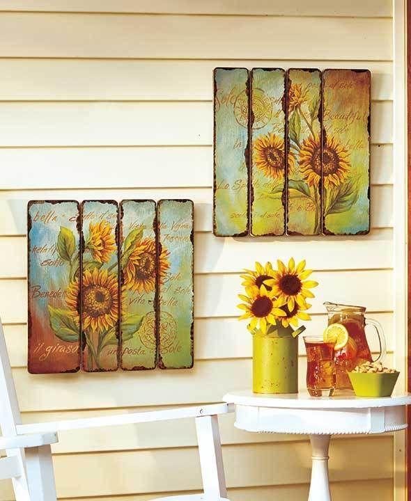 Set Of 2 Printed Pallet Wall Art Hangings Sunflower Theme Home Decor ...