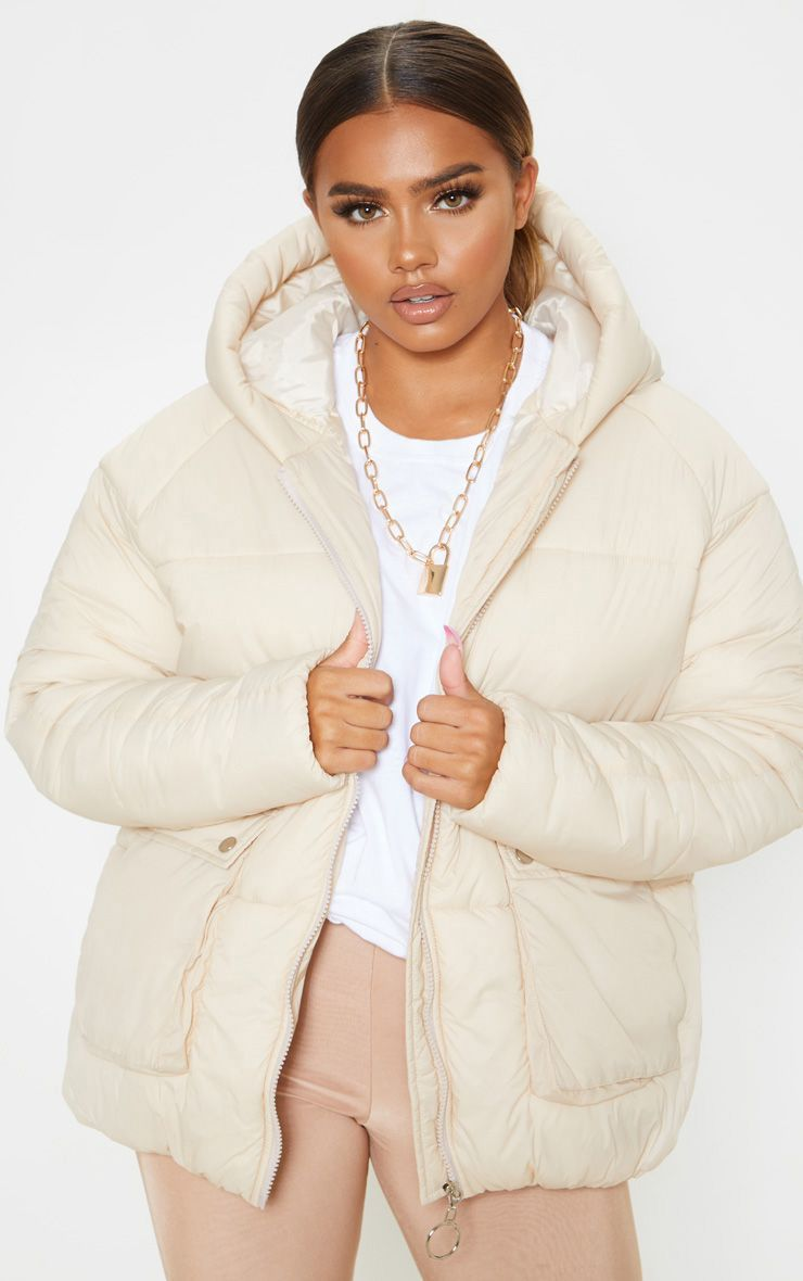 Cream Pocket Front Hooded Puffer Puffer Jacket Outfit Coats For Women Puffer Coat With Hood [ 1180 x 740 Pixel ]
