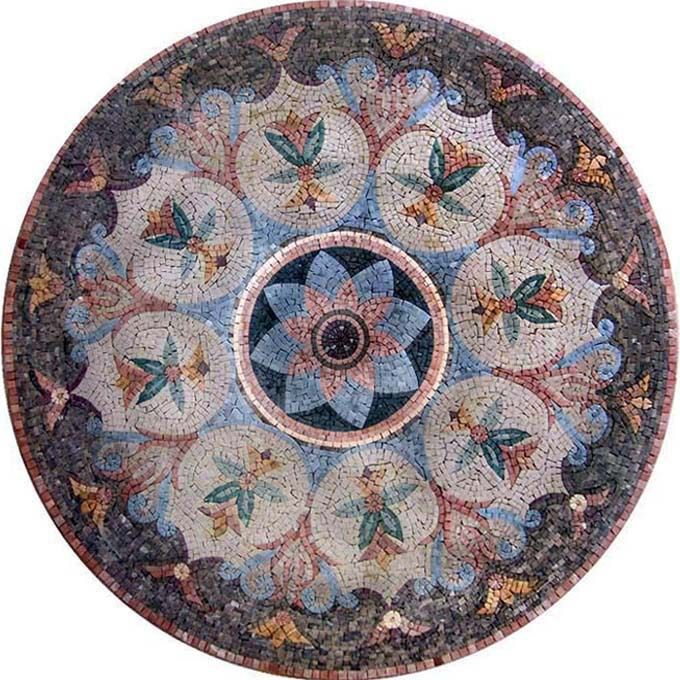 circular entry tile designs | Roman Mosaic Art Natural Marble Stone Tile Medallion Rug Pattern ...