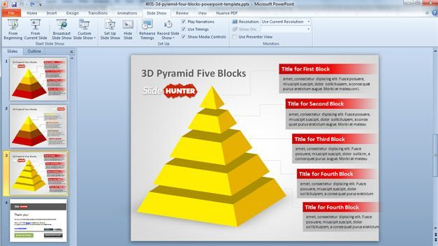 Free D Pyramid Template For Powerpoint  Four Blocks And Five