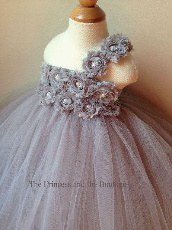 Flower girl dress if i get married pinterest flower girl flower girl dress gray tutu dress by theprincessandthebou on etsy mightylinksfo Gallery
