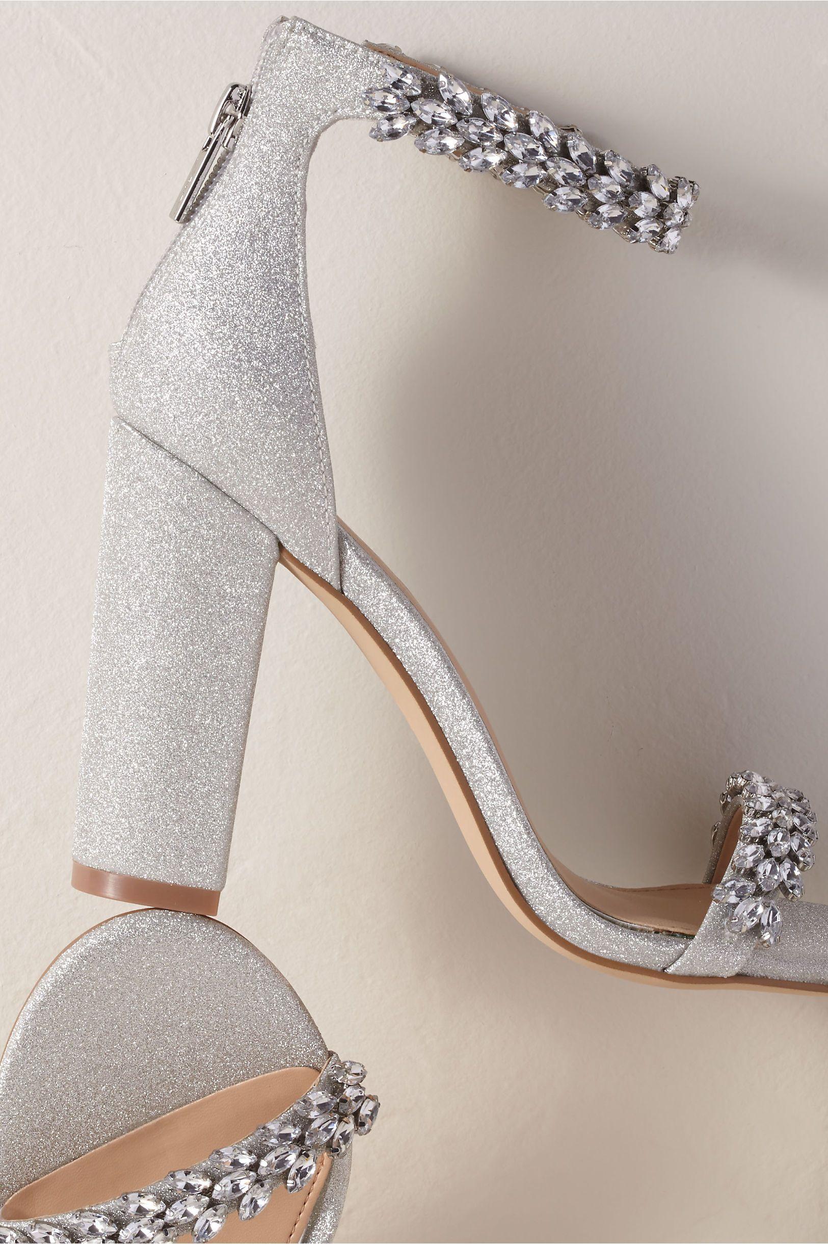 Jewel By Badgley Mischka Mayra Block Heels Bridal Shoes Silver Heels Wedding Shoes