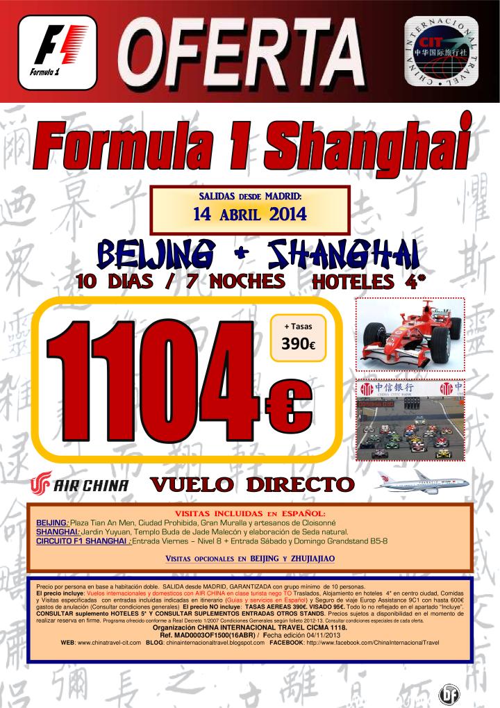 FORMULA 1 Shanghai 10 dias desde 1104€ (Sal: 14Abr) - http://zocotours.com/formula-1-shanghai-10-dias-desde-1104e-sal-14abr/