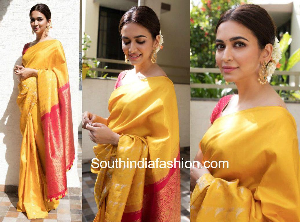 96bd74fd29 Kriti Kharbanda in a traditional saree | Celebrity Sarees , Designer ...