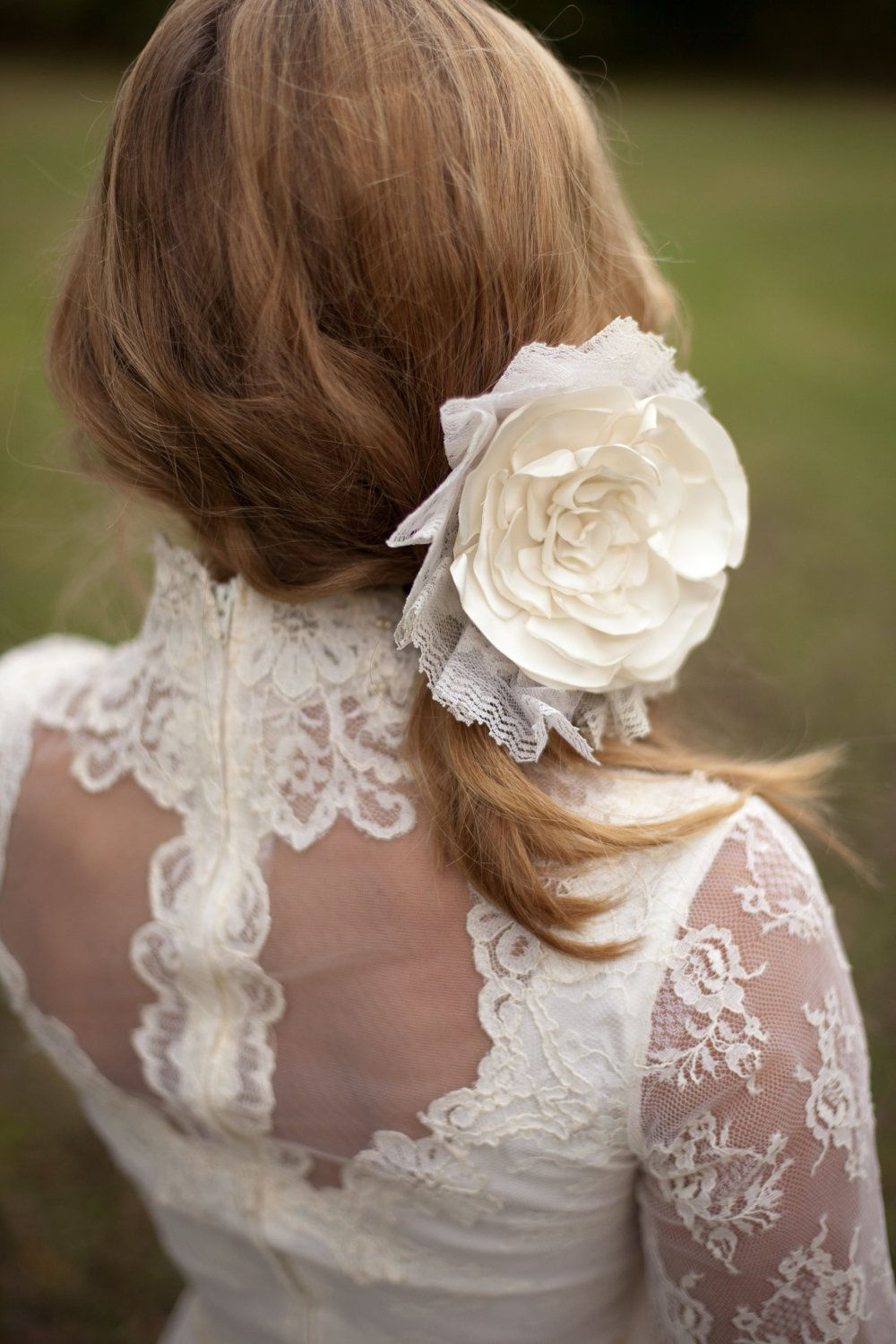Bridal Hair Accessory: Cream, Ivory Silk Flower Rose with Vintage Pleated Lace