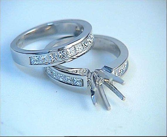 Princess Diamond Engagement and wedding Ring set by blueriver47, $2160.00