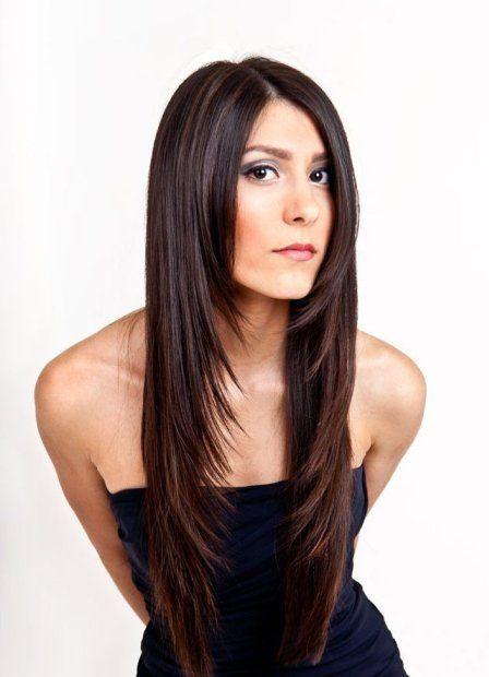 стрижка лесенкой на длинные волосы фото с челкой