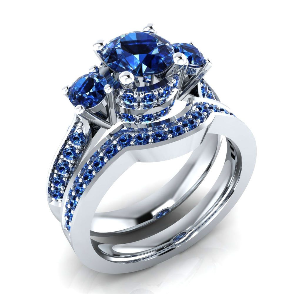 1.60 Ct Real Blue Sapphire Yellow Gold Bridal Wedding Ring