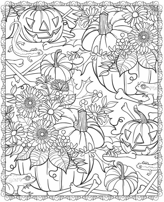 Fall Coloring Page Pumpkin and Leaves  Coloring Classroom and