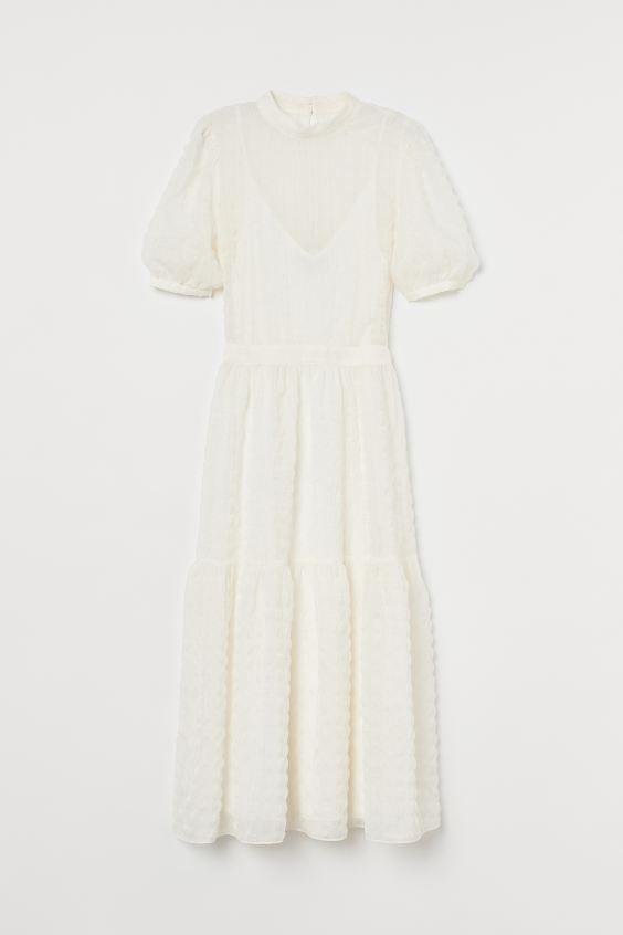 Kleid mit Puffärmeln - Weiß - Ladies | H&M DE in 2020 ...