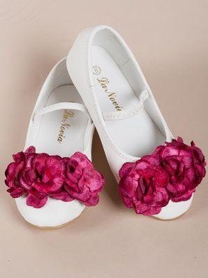 Fashion looks fashion place pinterest three fuchsia flowers accented girl shoes flower girl shoes made of premium high grade leather yet soft and easy to wear mightylinksfo