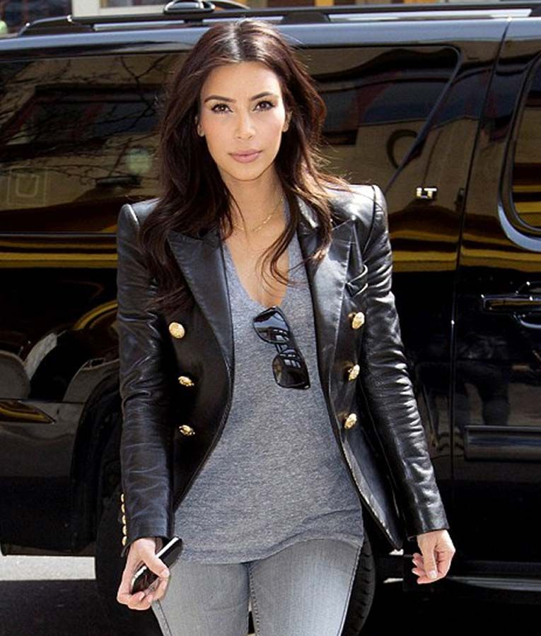 Kim Kardashian Double Breasted Leather Jacket #kimkardashianstyle