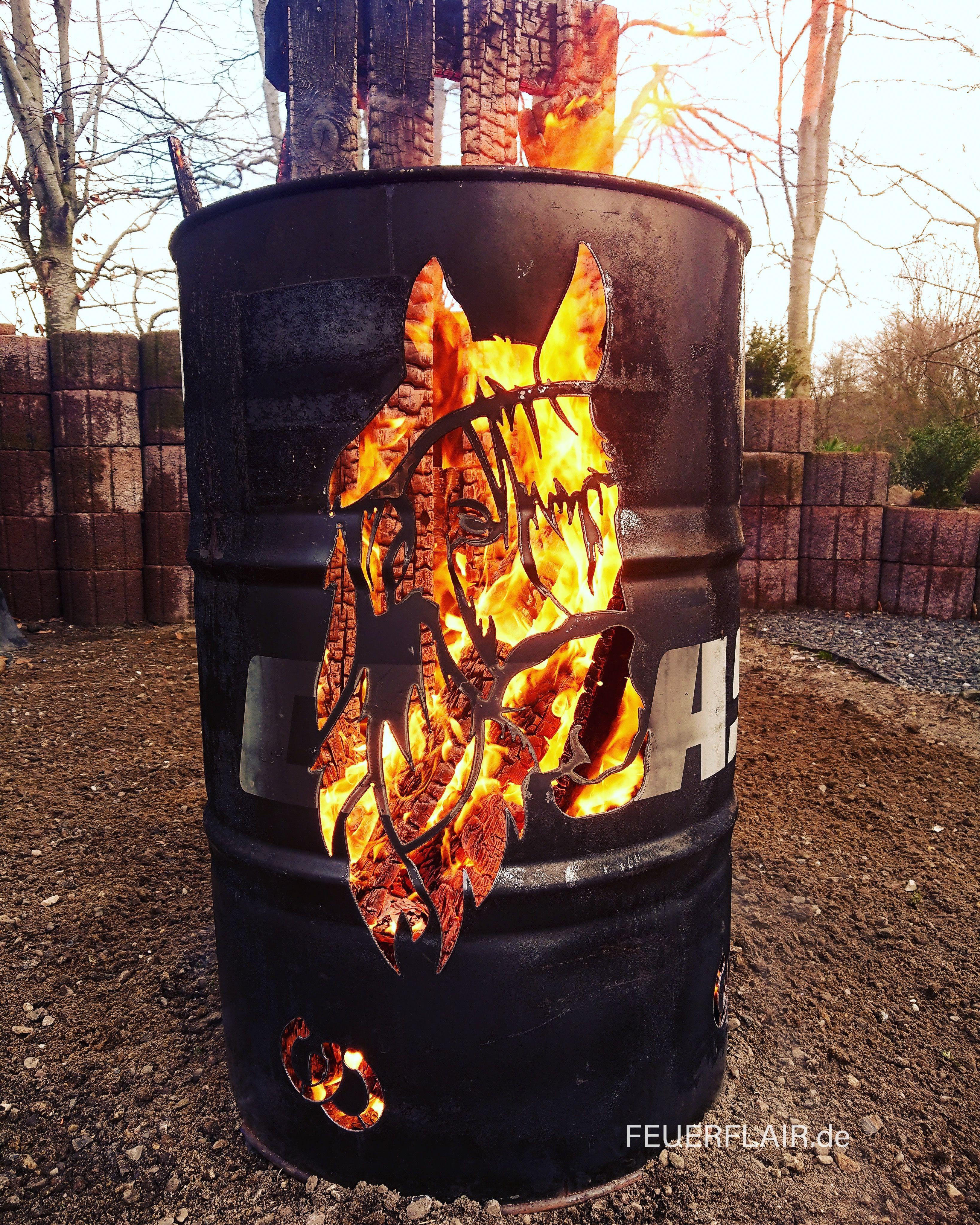 Feuertonne Pferd Metallfass Feuertonnen Feuer Feuerfass