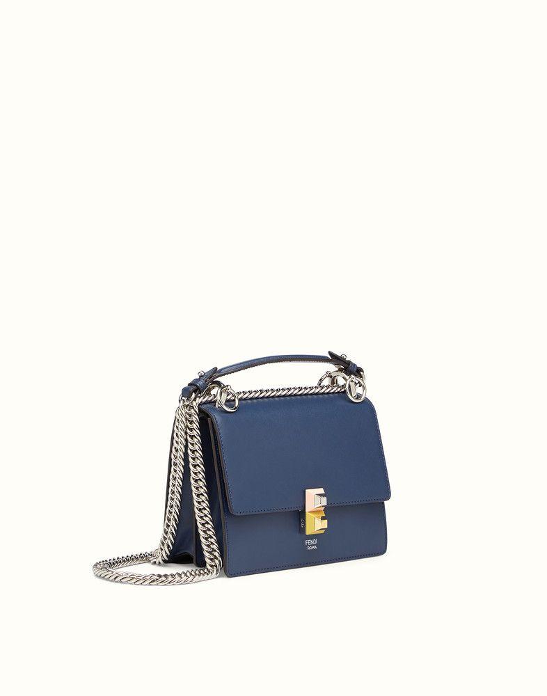 badb914a22c0 FENDI SMALL KAN I - Minibag in midnight-blue leather