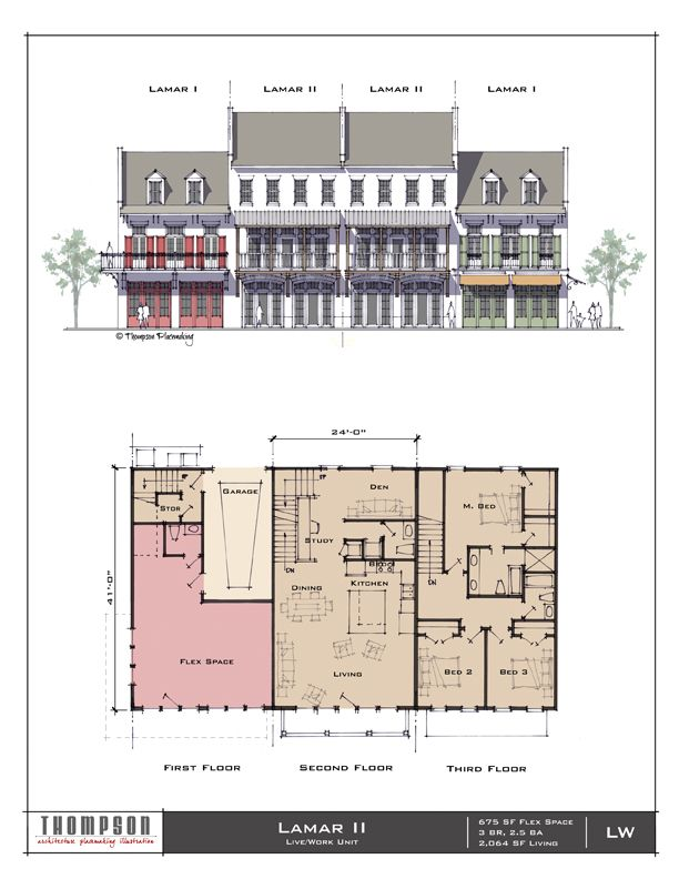 The Lamar Ii Live Work Unit 675 Sf Flex Space 3 Br 2 1 2 Bath 2 064 Sf Living Architectural Floor Plans Vintage House Plans Facade Architecture Design