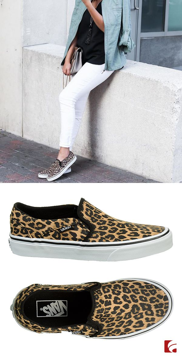 f61e6b0572a99b Express yourself in the Vans Asher cheetah print slip-on