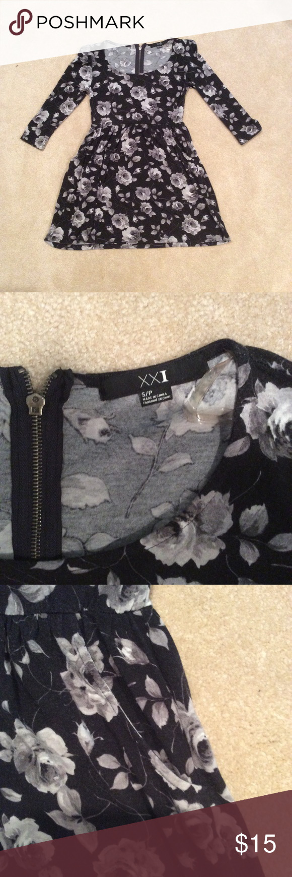 Black and Grey Floral dress Flattering black and grey dress. Has pockets and is very soft. Forever 21 Dresses