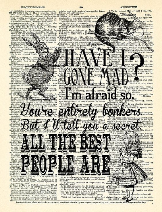 smiling Cheshire Cat Alice in Wonderland print on dictionary book page poster
