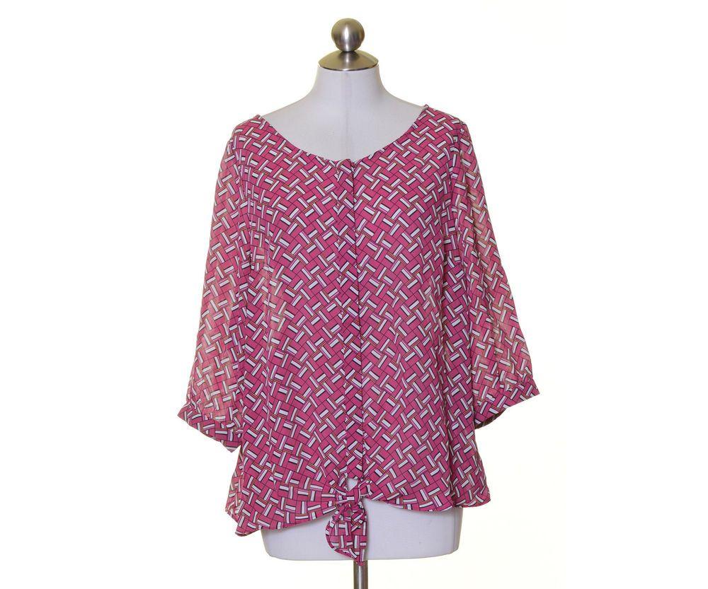 Worthington Pink White Black Print Lightly Sheer 3/4 Sleeve Blouse Size 1X 2X #Worthington #Blouse #Casual