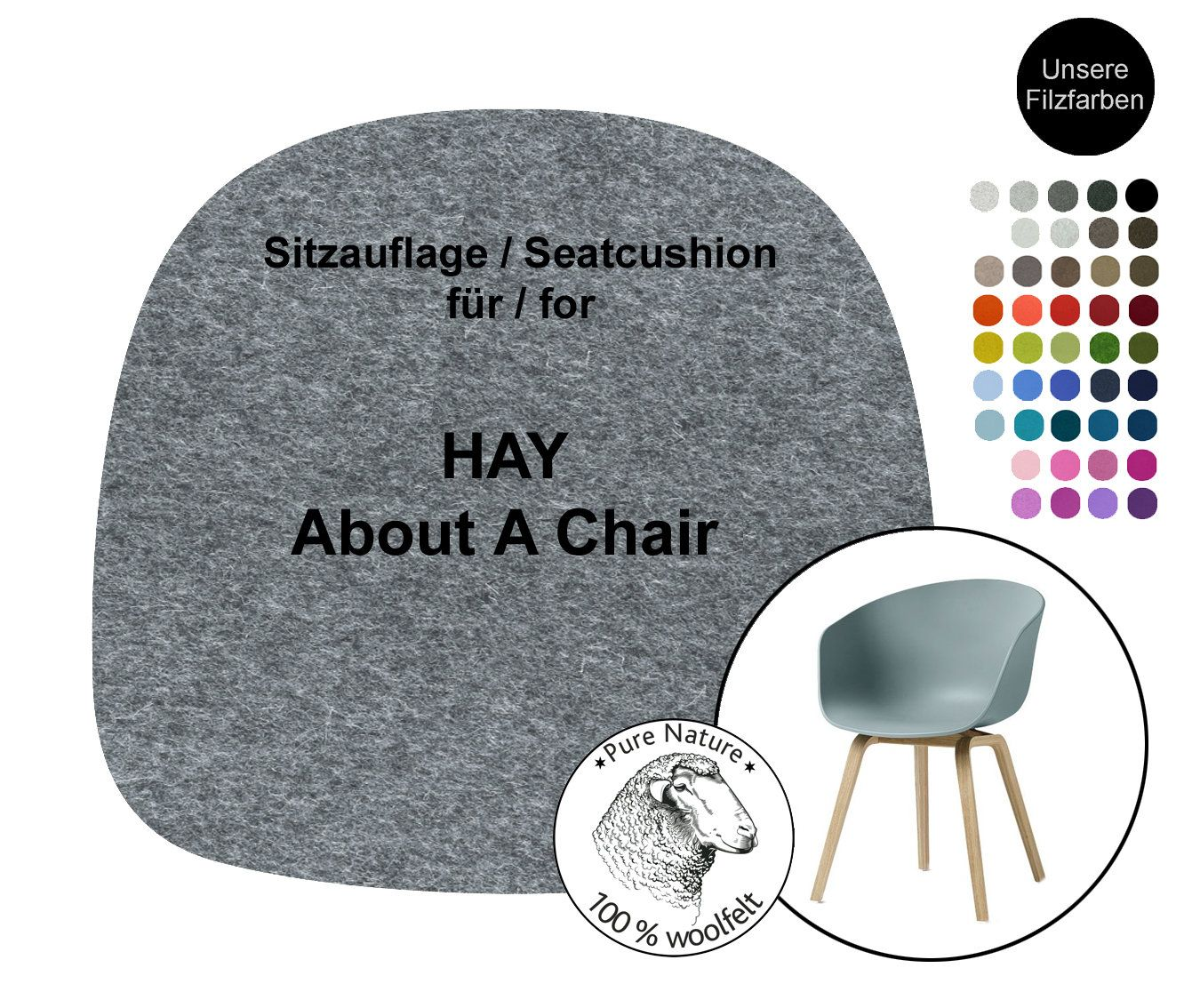 Hay About A Chair Aac 22 Aac22 Mit Armlehne Stuhlauflage Mit Oder Ohne Antirutsch Filz Sitzkissen 100 Wollfilz Stuhlauflage Hay In 2020 Chair Cushions Felt Cushion Wool Felt